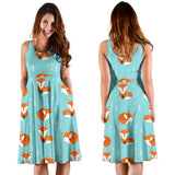 Fox Pattern Blue B Ackground Sleeveless Midi Dress