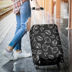 Garlic pattern black background Luggage Covers