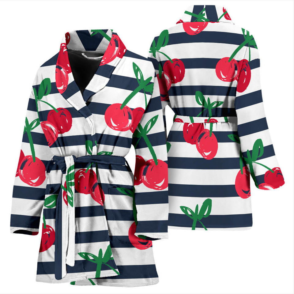 Hand Drawn Cherry Pattern Striped Background Women'S Bathrobe