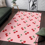Cherry Pattern Pink Background Area Rug