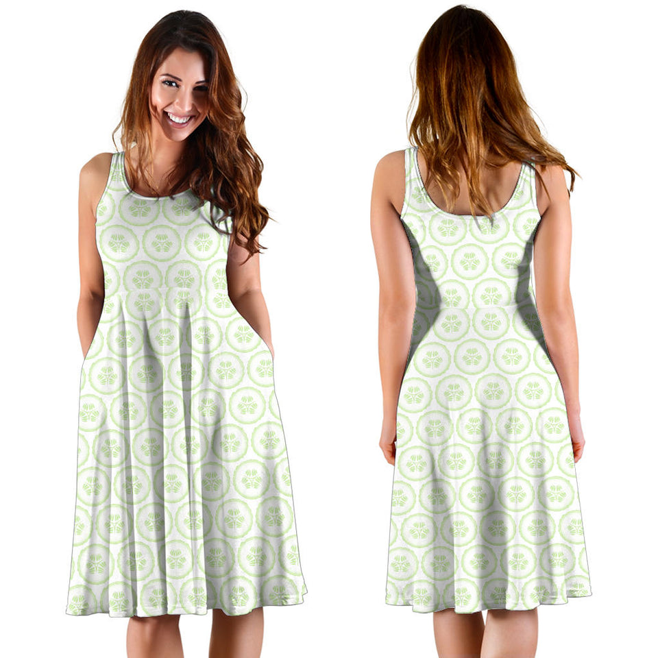 Cucumber pattern background Sleeveless Midi Dress