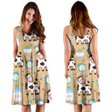 Cow bottle of milk pattern Sleeveless Midi Dress