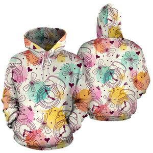 Clock butterfly pattern Pullover Hoodie