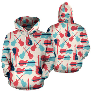 Red Blue Guitar Pattern Men Women Pullover Hoodie