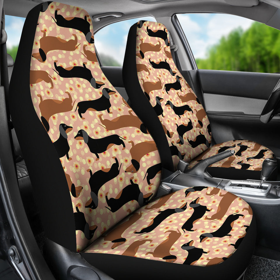 Dachshund Floral Background Universal Fit Car Seat Covers