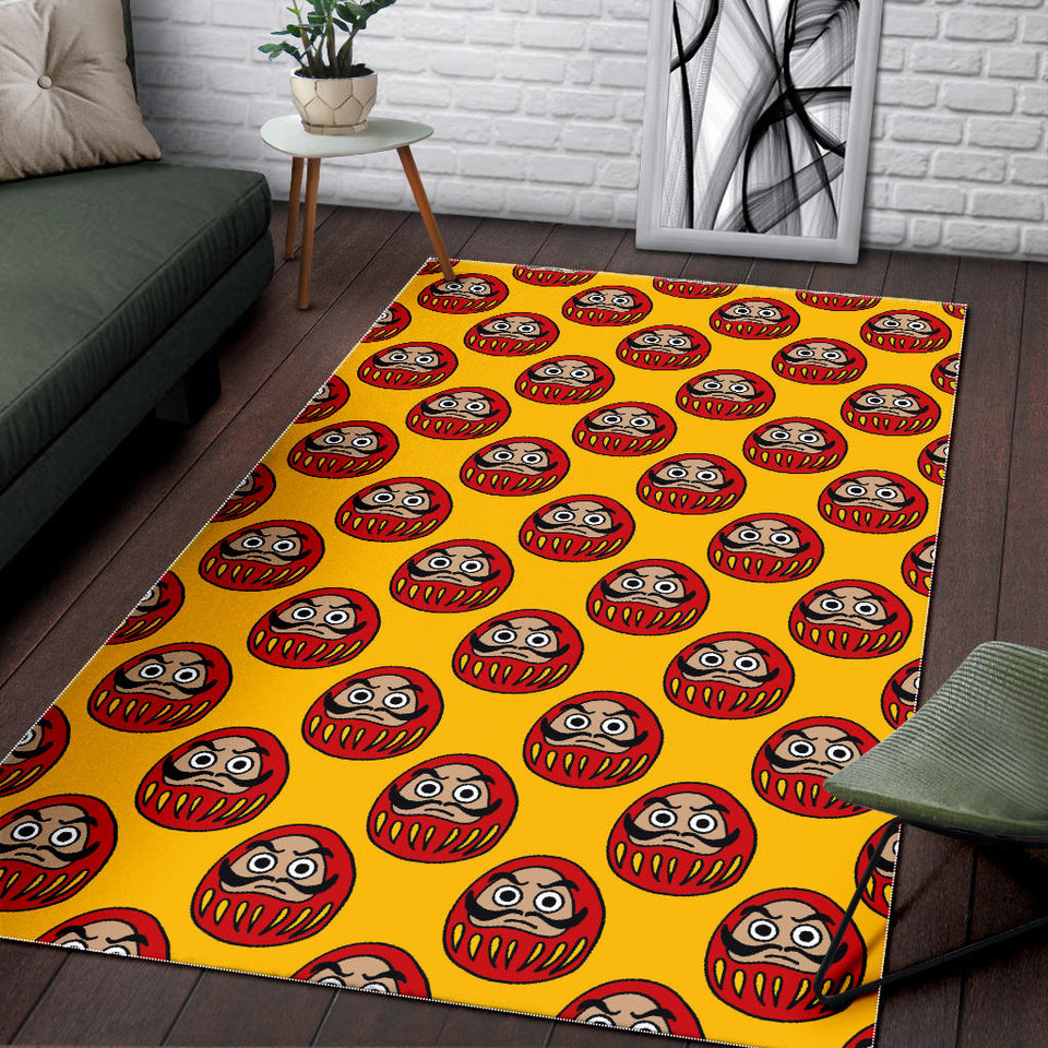 Daruma Japanese Wooden Doll Yellow Background Area Rug