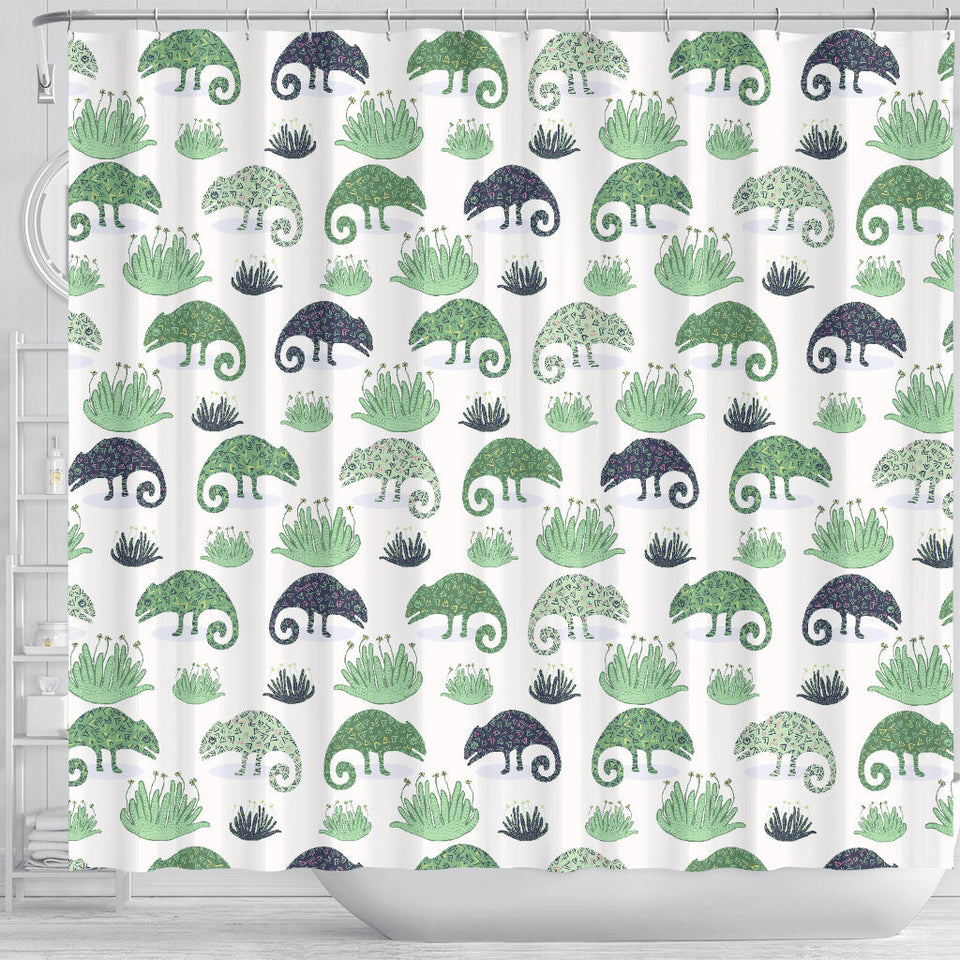 Chameleon Lizard Succulent Plant Pattern Shower Curtain Fulfilled In US