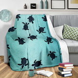 Sea Turtle With Blue Ocean Backgroud Premium Blanket