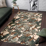 Monkey Tropical Leaves Background Area Rug