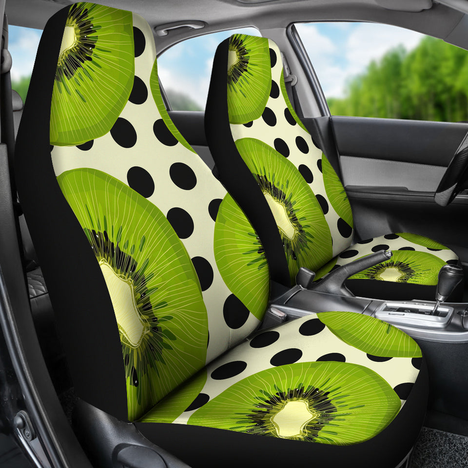 Kiwi Black Dot Background Universal Fit Car Seat Covers