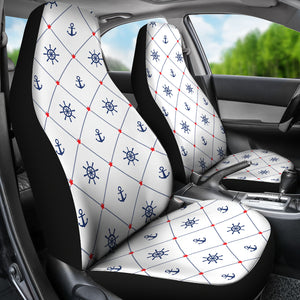 Anchor Rudder Nautical Design Pattern  Universal Fit Car Seat Covers