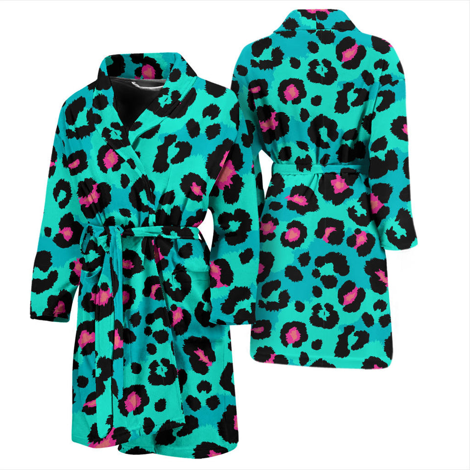 Green Leopard Skin Print Pattern Men'S Bathrobe