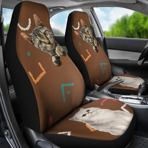 Grey and white cat Car Seat Cover