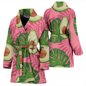 Avocado Slices Leaves Pink Back Ground Women'S Bathrobe