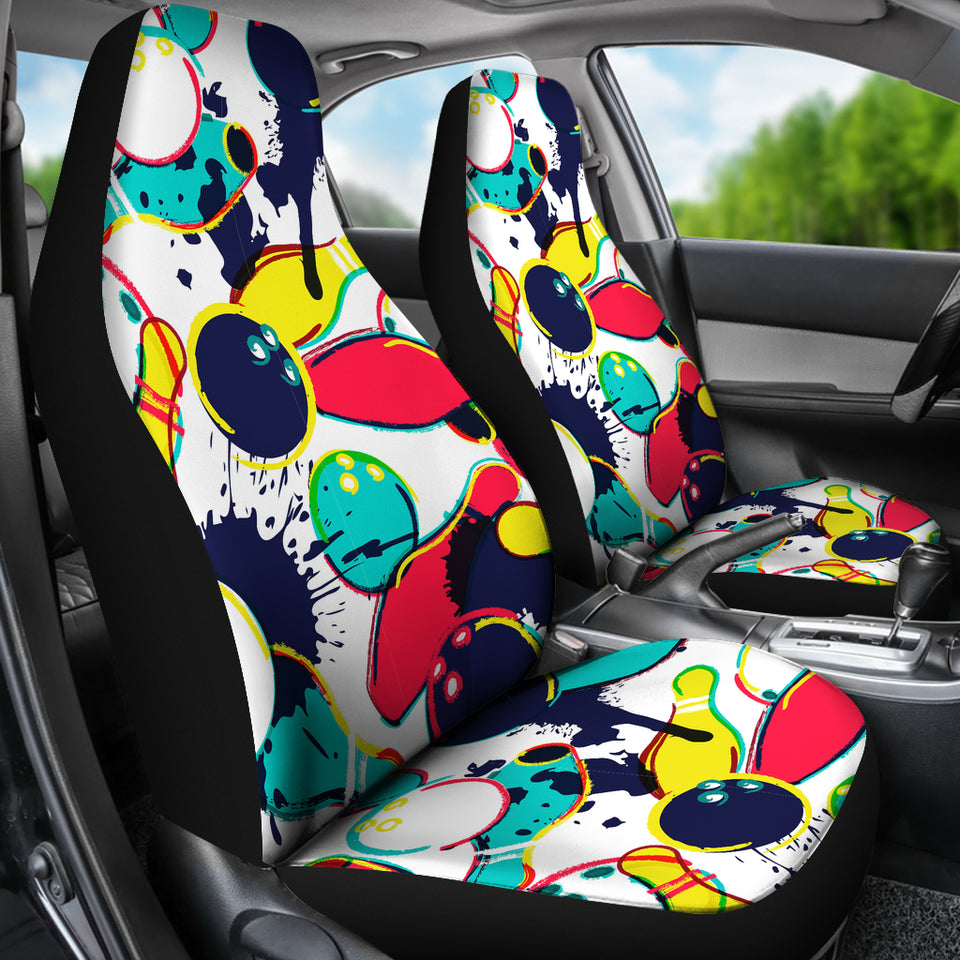 Watercolor Bowling Ball Pins  Universal Fit Car Seat Covers