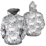 Cute french bulldog head pattern Pullover Hoodie
