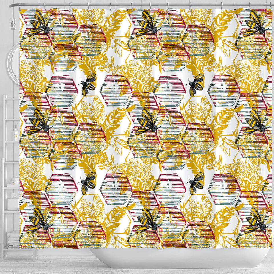 Cool Bee Honeycomb Leaves Pattern Shower Curtain Fulfilled In US