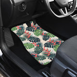 heliconia flowers, palm and monstera leaves Front Car Mats