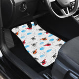 Watercolor helicopter cloud pattern Front Car Mats