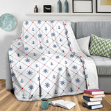 Anchor rudder nautical design pattern Premium Blanket