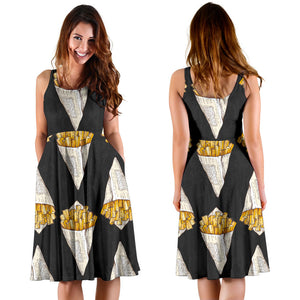 French Fries Dark Background Sleeveless Midi Dress