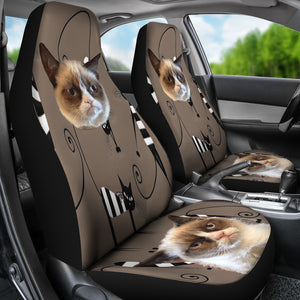 Funny Cat Face Car Seat Cover