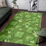 Broccoli Pattern Green Background Area Rug