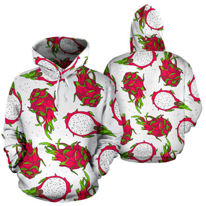 Dragon Fruits White Background Men Women Pullover Hoodie