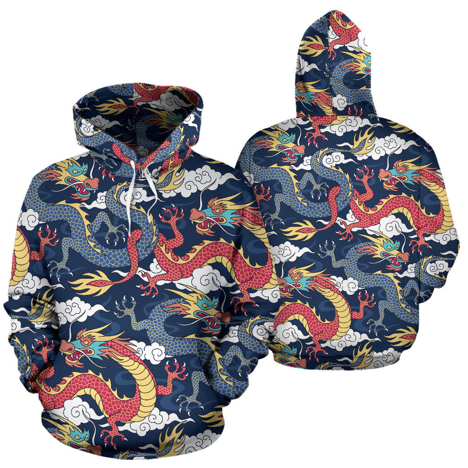 Blue red dragon cloud pattern Pullover Hoodie