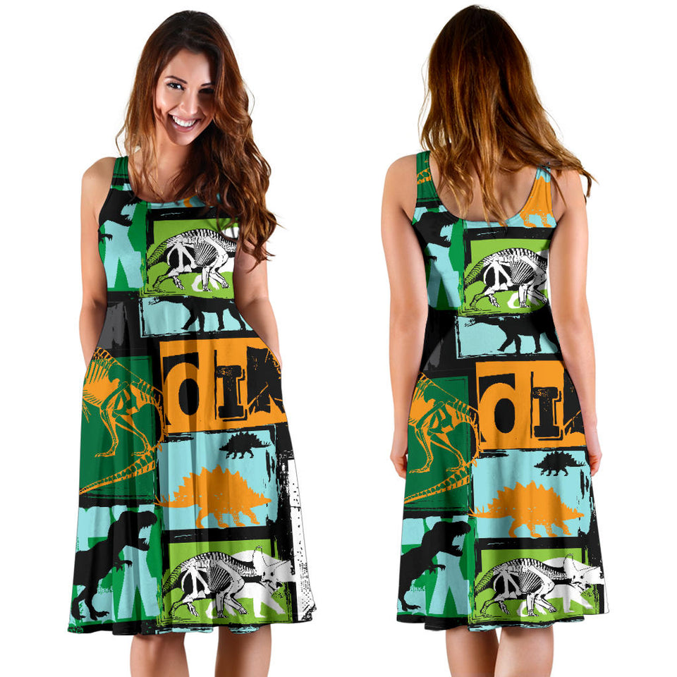Dinosaurs Print Pattern Sleeveless Midi Dress