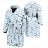Dolphin Blue Striped Background Men'S Bathrobe