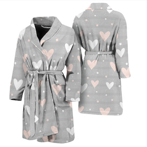 Heart Pattern Gray Background Men'S Bathrobe