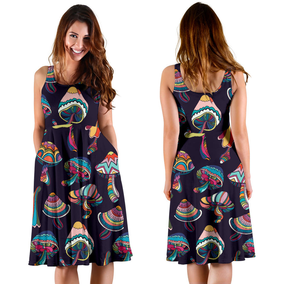Colorful Mushroom Pattern Sleeveless Midi Dress