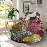 Japanese cranes flying forest dot pattern Bean Bag Chair