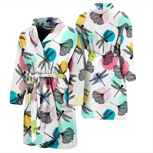 Dragonflies Ginkgo Leaves Pattern Men'S Bathrobe