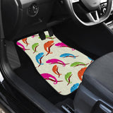 Colorful Chameleon Lizard Pattern Front And Back Car Mats