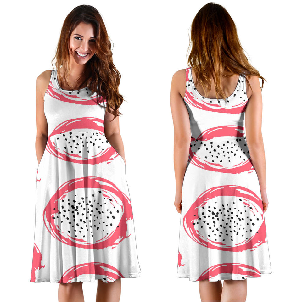 Hand Drawn Dragon Fruit Sleeveless Midi Dress