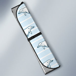 Dolphin Blue Striped Background Car Sun Shade