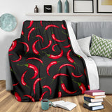 Chili Peppers Pattern Black Background Premium Blanket