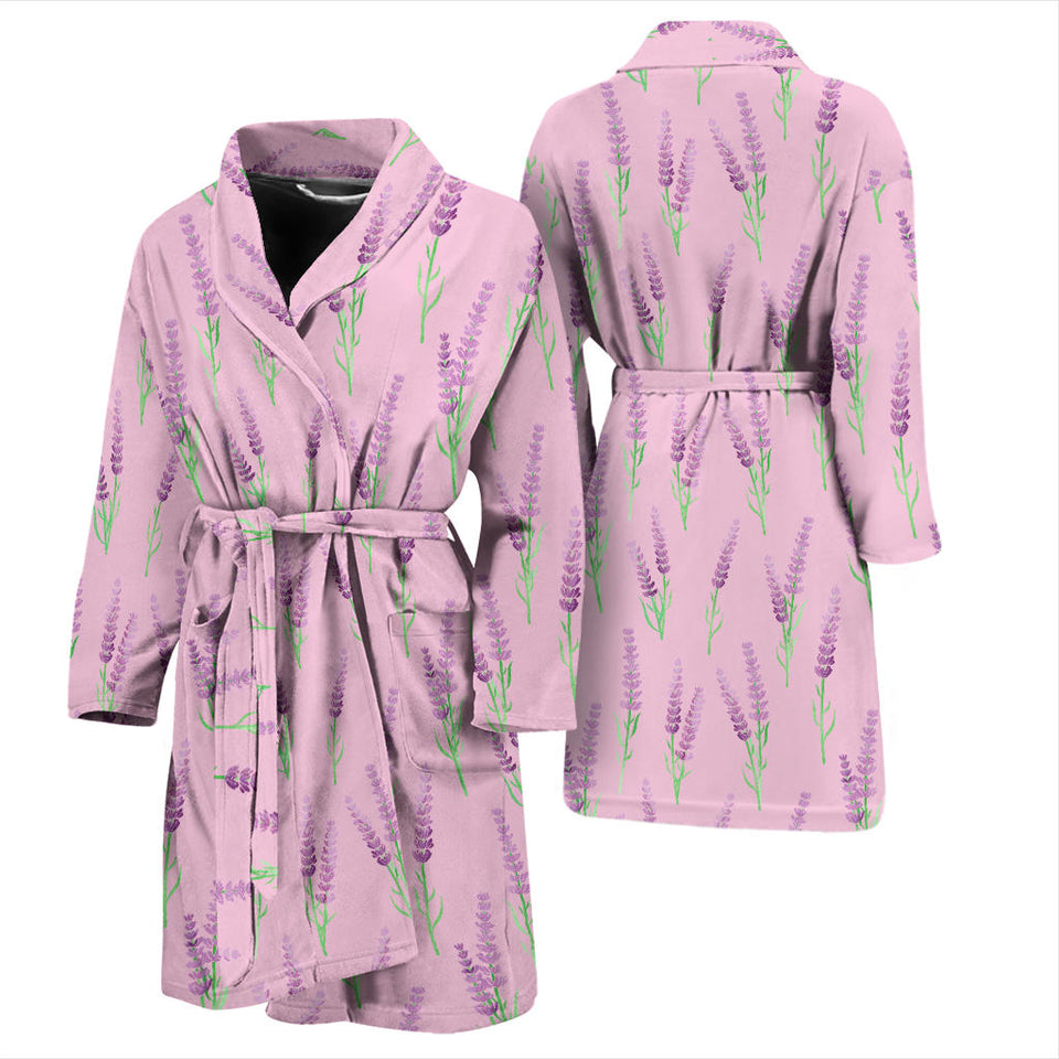 Lavender Pattern Pink Background Men'S Bathrobe