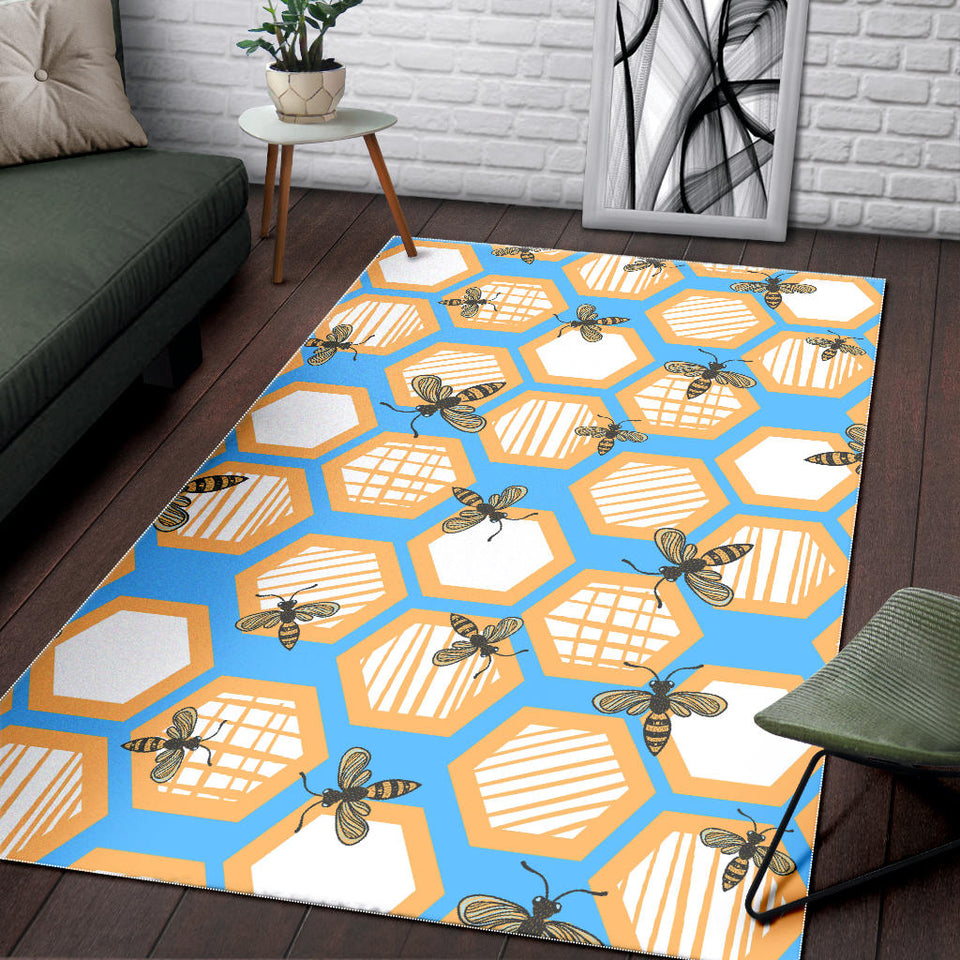 Bee Honeycomb Pattern Area Rug
