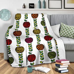 colorful apples leave zebra stripe Premium Blanket