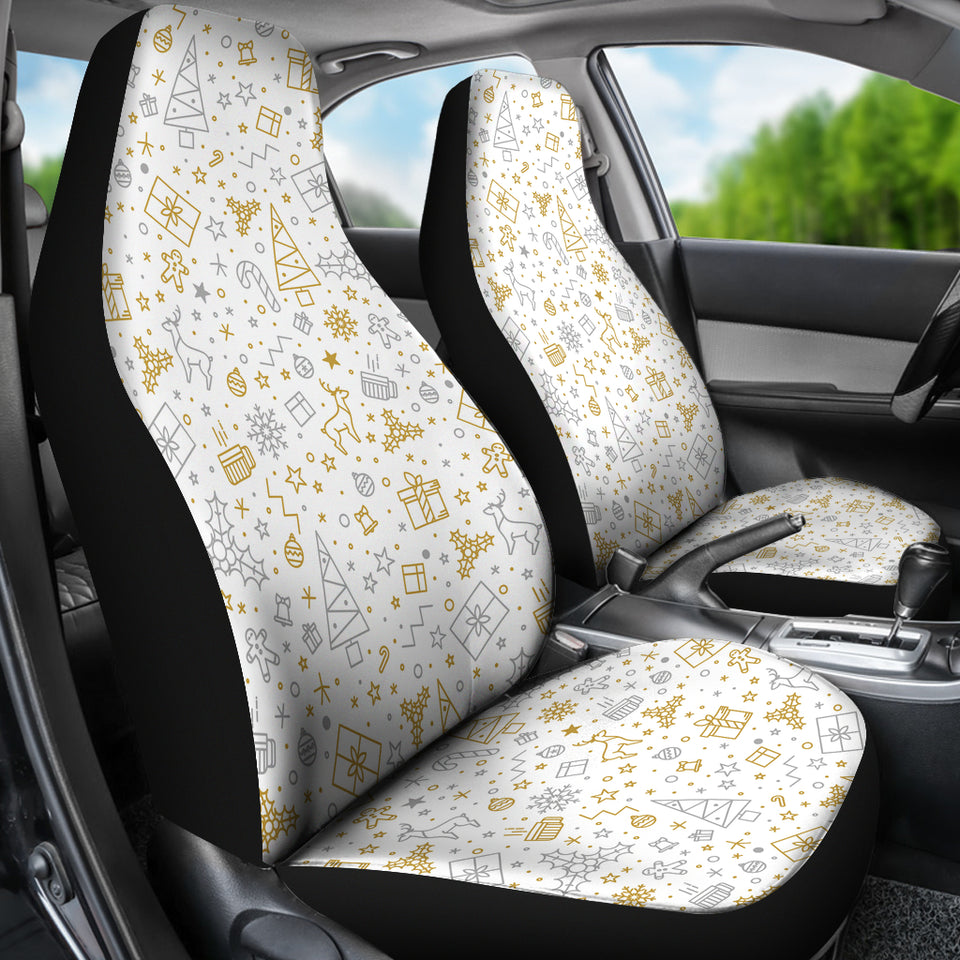 Christmas Tree Christmas Element Silver Gold Pattern Universal Fit Car Seat Covers