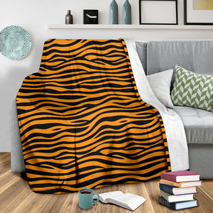 Bengal Tigers Skin Print Pattern Background Premium Blanket