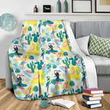 Cute Parrot Toucan Flamingo Cactus Exotic Leaves Pattern Premium Blanket