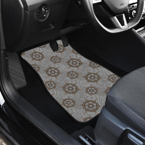 Nautical Wood Steering Wheel Pattern Front Car Mats
