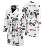 Hand Drawn Faces Of Pandas Pattern Men'S Bathrobe