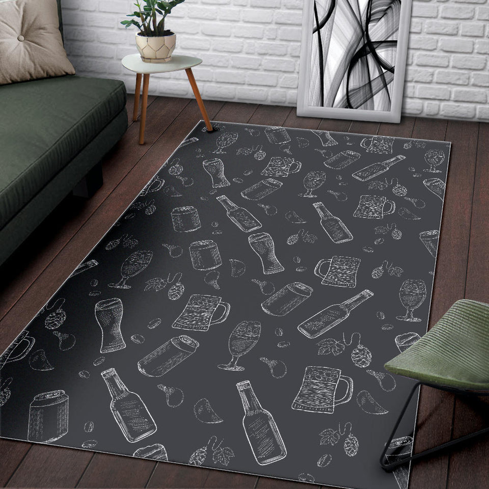 Beer Hand Drawn Pattern Area Rug
