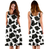 Cow skin pattern Sleeveless Midi Dress