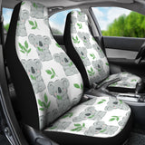 Hand Drawn Koala Leaves Pattern Universal Fit Car Seat Covers